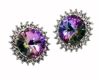 Big diamond multi-colored silver earrings