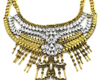 Fashion crystal tribe gold necklace