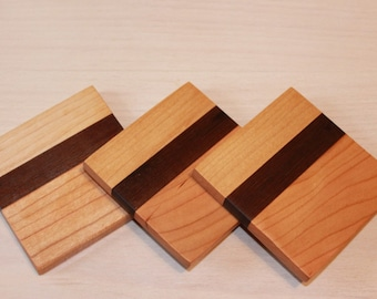 Natural wood striped coasters (set of 3)