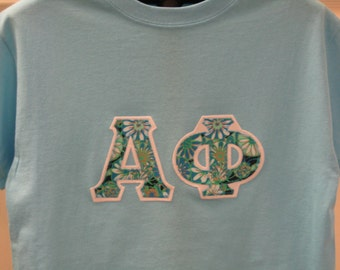 alpha phi only one available size small premade ready to ship sky blue short sleeve sorority double stitched letters shirt