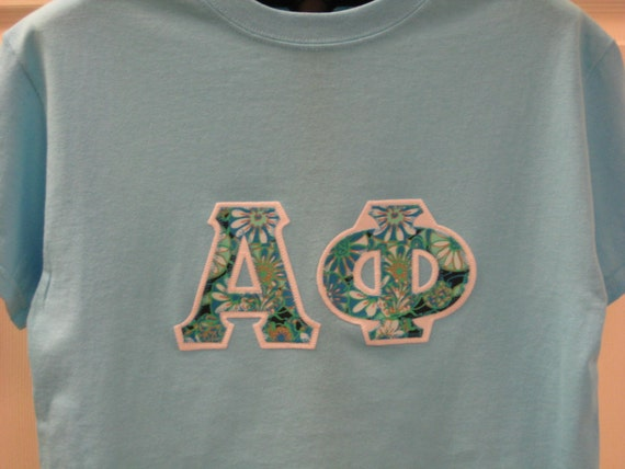Sky blue short sleeve sorority double stitched letters shirt for Cute greek letter shirts