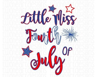 Little Miss 4th of July Iron On - Digital Download - You Print