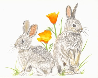 Original Watercolor Print, Bunnies, Poppies, Spring Beginnings, Cute Baby Rabbits, Nursery Art, Cotton Tale