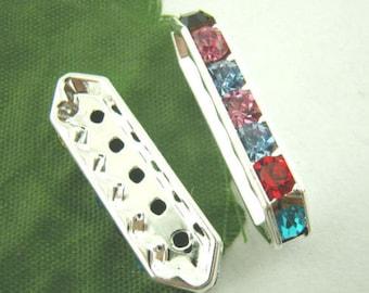 10Pcs 5Holes Rhinestone Spacer Beads