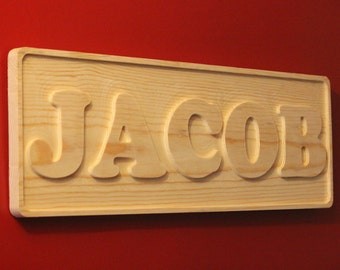 "8"" x 24"" Jacob Carved Wooden Name Sign, Douglas Fir Baby Name for Childs Room or Nursery (able to customize name)"