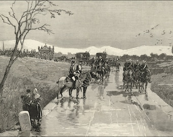 24x36 Poster . Funeral Procession Of King Alfonso Xii Of Spain To Madrid 1885