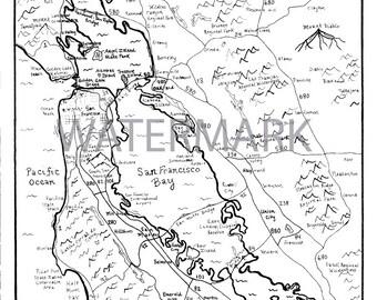 San Francisco Bay Area Hand Drawn Map