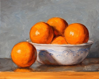 Kitchen Painting, Oranges in a bowl, daily painting by Aleksey Vaynshteyn