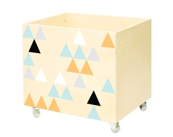Toy chest, nursery toy box, toy bin storage, toy hope, tory organizer. Kids furniture, wooden, on wheels, casters. For boy, girl, triangles.