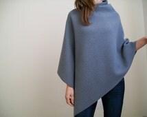 100% MERINO WOOL CAPE/ Womens Grey Sweater/ Poncho/ Pure New Wool Poncho/ Women Cape / Grey Wool Cape/ Wool Poncho / Grey Poncho Wrap/ Cape
