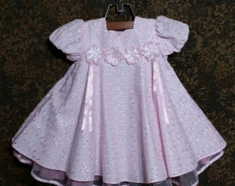 Little baby girl pink 90's vintage eyelet and lace dress.