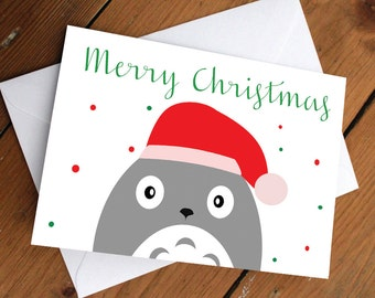 TOTORO- xmas edition // my neighbor totoro, anime, japanese, christmas, holiday, festive, greeting card, cute, love, friendship, birthday