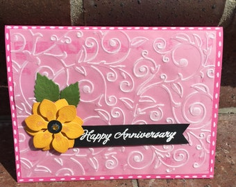 Anniversary card, love card, wedding card, valentine card, handmade card, greeting card, Embossed vellum card.