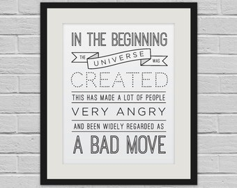 In the Beginning - Hitchhiker's Guide to the Galaxy Wall Art Poster and Canvas Print