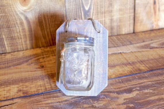 White Washed Handmade Single Mason Jar Hanger (Wall Art/Vase) --- Flintface Woodshop