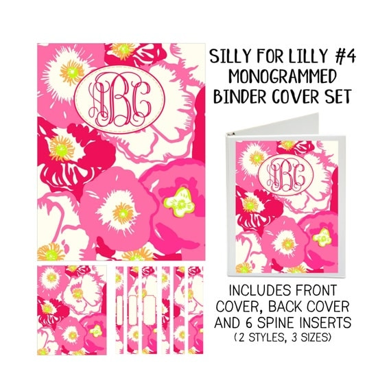 Silly for Lilly #4 Printable Binder Cover Set with Front & Back Covers and Spine inserts - Personalized- Dress up Your Three Ring Binder!