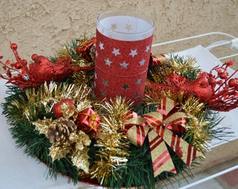 Christmas centerpiece, Christmas candle centerpiece , Christmas decor