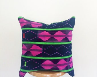 Authentic African Indigo and Pink Ikat Textile Pillow Cover