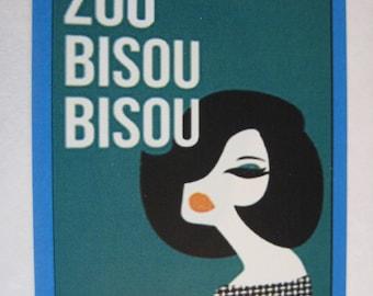 Madmen Theme Zou Bisou Bisou Vintage Style Decal / Sticker for car, laptop, window, locker, wall, truck