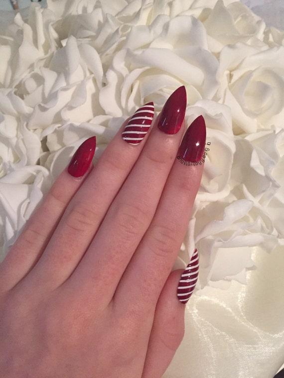 Items similar to Christmas candy cane stiletto false nails ...