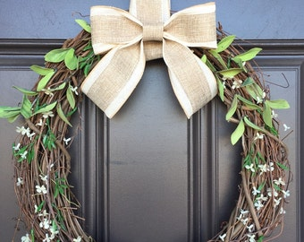 All Season wreath with burlap and linen bow and white accents; transitional wreath; neutral wreath; monogram wreath