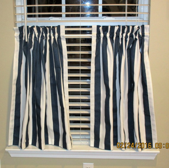 Items Similar To Navy Stripe Kitchen Cafe Curtains