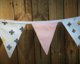 Bunting Flags - Cross & Soft Pink - F1017