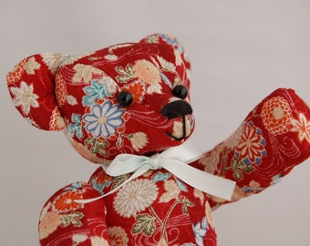 Japanese fabric Teddy Bear (Red flower)