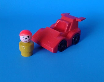 """Vintage Fisher Price Little People """" #347 Indy Race Car w/ Freckle Boy """" 1980's"""