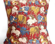 Kalamkari Indian traditional hand block print 16x16 cotton cushion cover with lining/ envelope back toss pillow