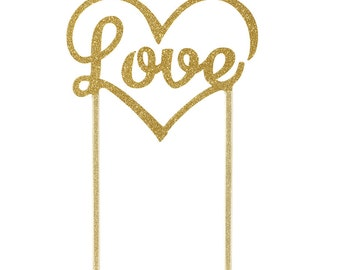 Gold sparkling Love Cake Topper  - Valentine's Day, Wedding