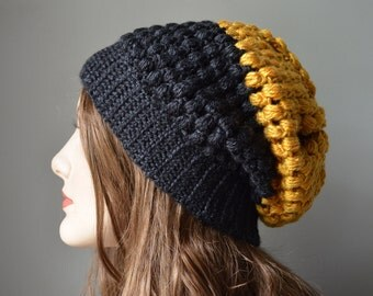 Black & Gold Color Block Stella Slouch Hat - Sizes Child to Adult - *MADE TO ORDER*