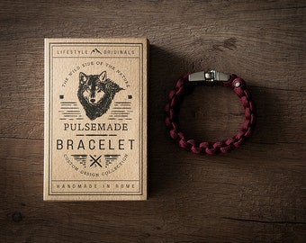 Men's bracelet-women's leather marc unisex in Paracord 550-Pulsemade Classic collection-Handmade parachord bracelet Mens-Womens Burgundy