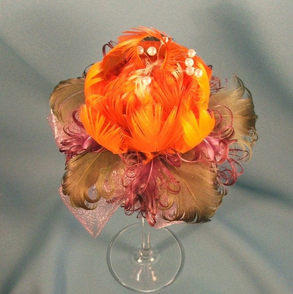 Items similar to real feather flower centerpiece quot orange