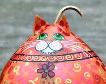 Fat Cat- Gourd Art- Orange Tabby- Orange Tabby Cat- Crazy Cat Lady Gift- Cat Decor- Flower Cat Ears- Cat Flower Charm