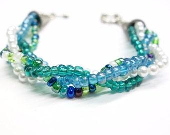 Bracelet, Handmade Beaded, Twisted Strands, Ocean Inspired, Colors of Ocean Surf