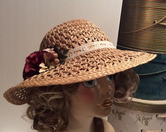 20% OFF SALE Vintage Kentucky Derby Wide Brim Natural Straw Hat with Flowers