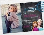 Frozen Invitation Printable Birthday Invite Personalized Picture Girl Girls Chalkboard Disney Elsa Sparkle Snowflake Frozen Bday Party Kids