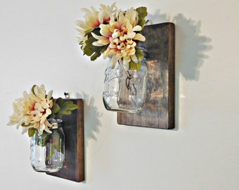 Mason Jar Wall Decor, Wall Sconce, Mason Jar Organizer, Shabby Chic Farmhouse Mason Jar Decor