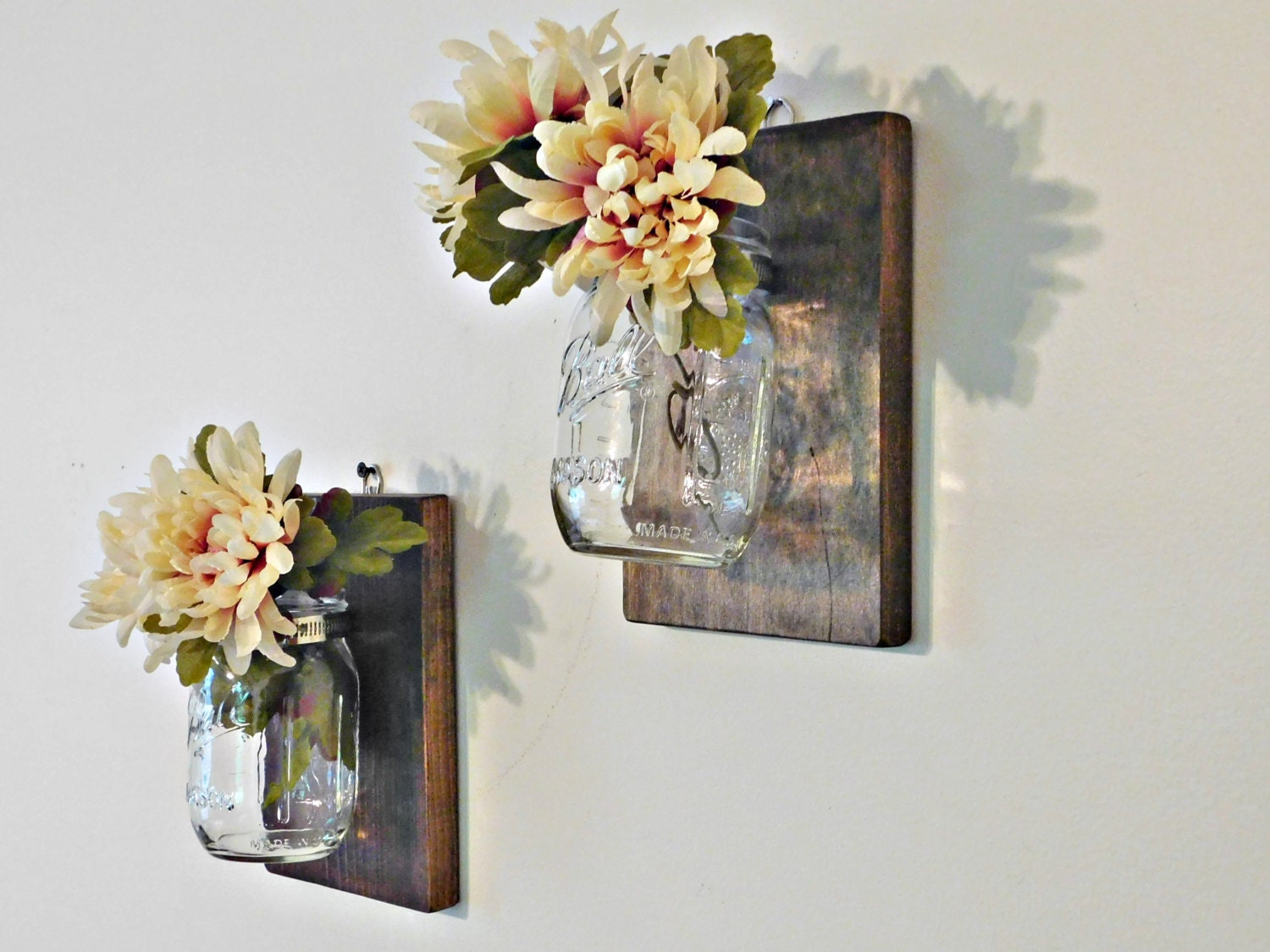 mason jar wall decor wall sconce mason jar organizer shabby. Black Bedroom Furniture Sets. Home Design Ideas