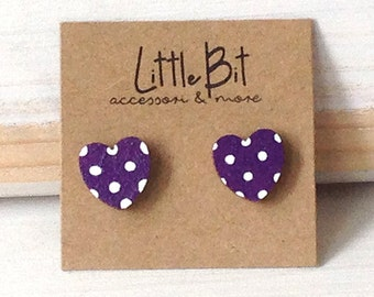 Wooden heart Valentine earrings Stud