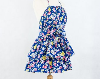 Flirty floral apron in blue