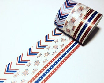 Stars, Stripes and Fireworks, Patriotic Washi Tape, USA