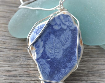 Sea washed pottery shard pendant .Silver wire wrapped.OOAK