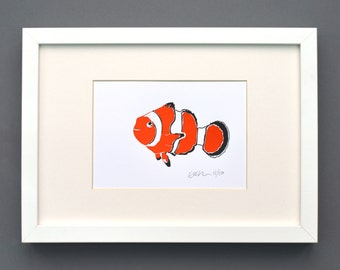 Clownfish print - Finding Nemo Print - Fish Gifts - Room Decor - Animal Print Nursery - Letterpress prints - small prints - Contemporary art