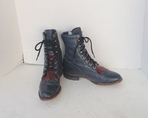 sz 6 b vintage dark blue and brown leather justin lace up granny combat boots