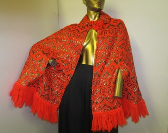 vintage 70s Guatemalan fringed metallic tapestry cotton cape one size fit all