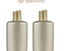 6 OVAL 2 Oz CHAMPAGNE HDPE Plastic Bottles w/ Golden Disc Dispenser 60ml Bottles Lotion Shampoo Body Cream Conditioner Aromatherapy EOs