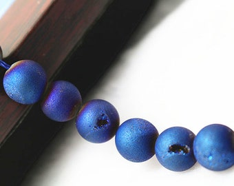 10 mm Titanium Coated Druzy Crystal Agate Beads, 15 inch strands