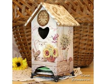 Tea box, home decor, kitchen decor, decoupage box, wooden box